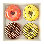 Glazed colored donuts set in the box 3D. Vector Illustration