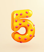 Glazed donut font. Number 5. Number five cake. Dessert style. Collection of tasty bakery numbers with cream. Anniversary and birthday concept. Vector illustration.