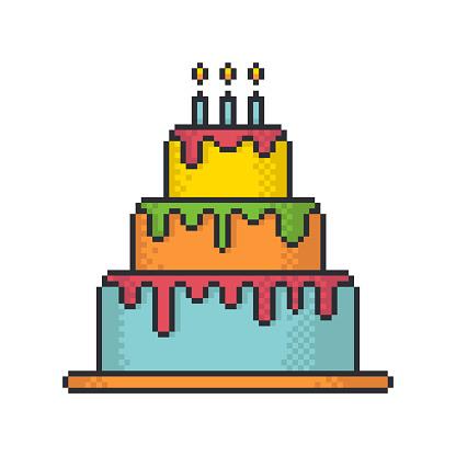 Glacé Gâteau Festif Pixel Art Style Vecteur Icône Sur Fond