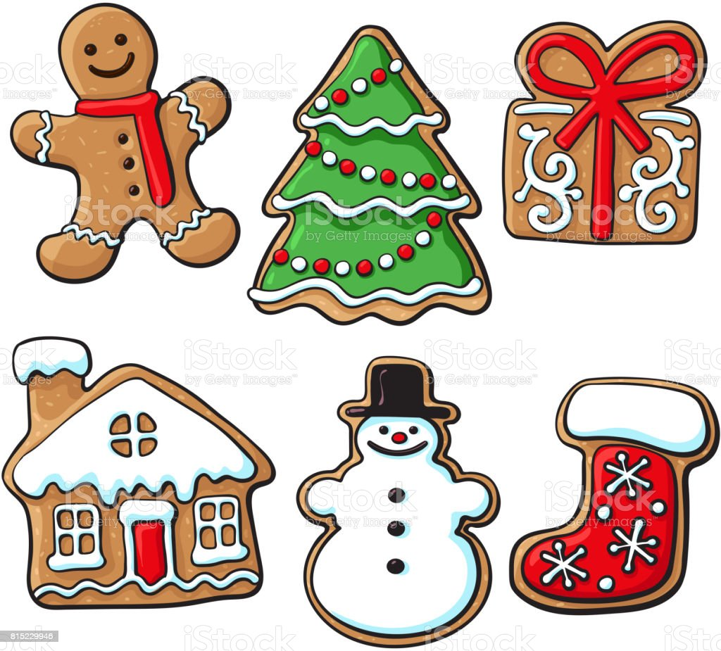 Glazed homemade Christmas gingerbread cookies vector art illustration