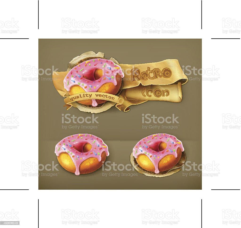 Glazed ring doughnut vector art illustration