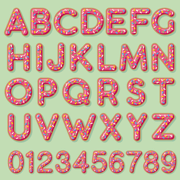 Glazed Strawberry Donut Alphabet A cute frosted donut letter. File is built in CMYK for optimal printing and can easily be converted to RGB. Background is a separate layer and easy to delete. alphabet clipart stock illustrations