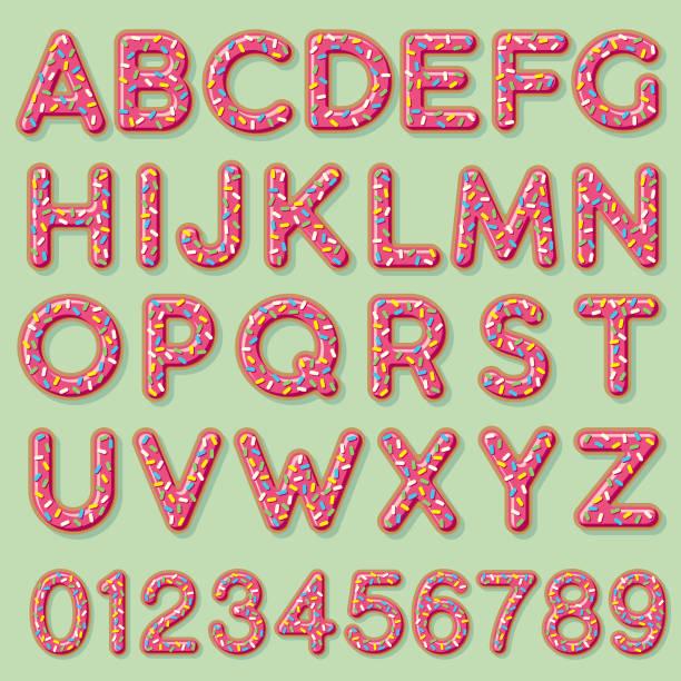 glazed strawberry donut alphabet - alphabet clipart stock illustrations