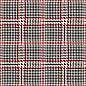 Glen plaid pattern. Seamless vector tweed check plaid background texture in black, red, and beige for jacket, dress, skirt, trousers, bag, or other modern classic tweed textile design.