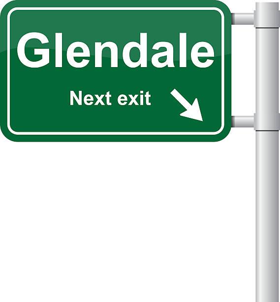 stockillustraties, clipart, cartoons en iconen met glendale next exit green signal vector - arizona highway signs