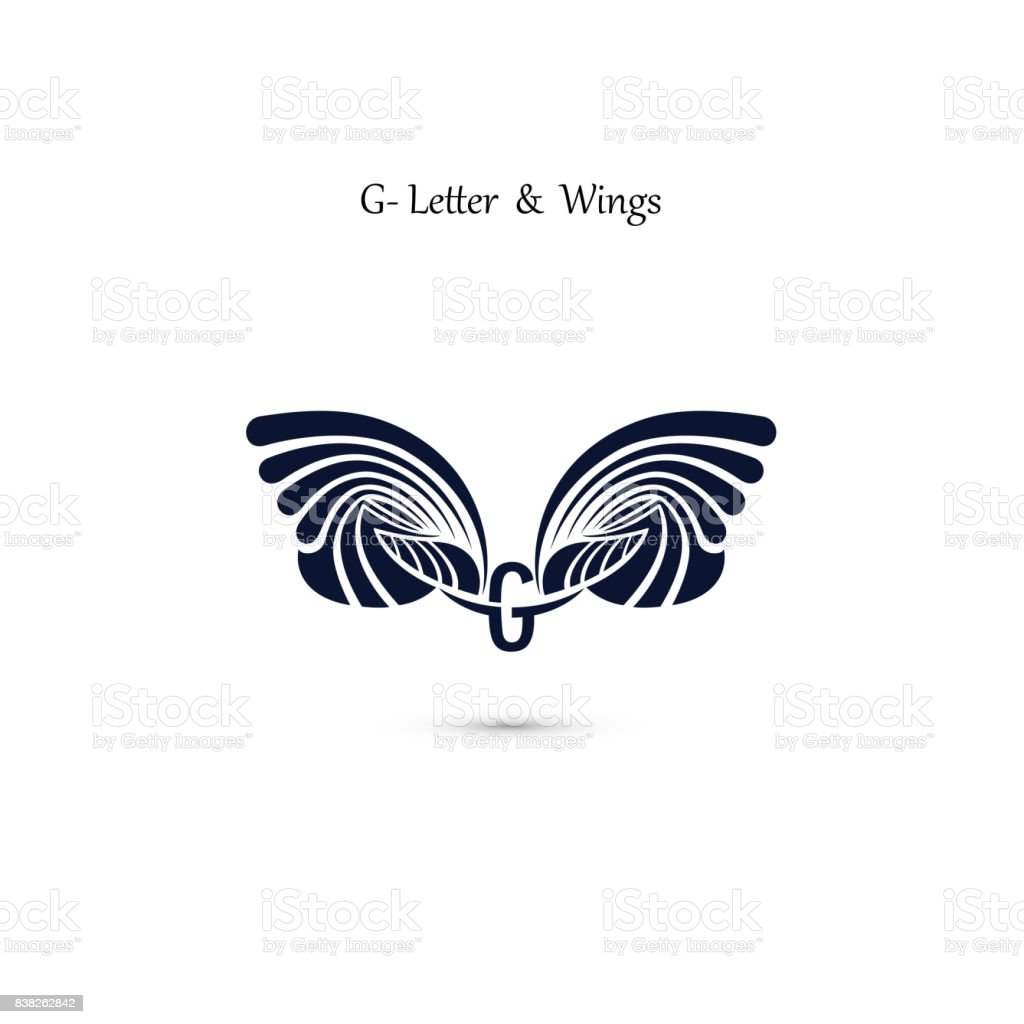 Gletter Sign And Angel Wingsmonogram Wing Vector Icon