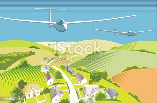 Gliders flying over countryside in traditional cross hatch style. EPS10 file, CS3, CS5 and freehand versions in the zip
