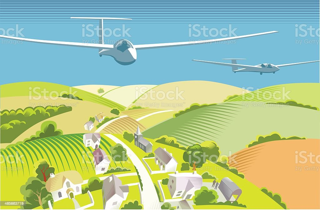 Gliders over countryside vector art illustration