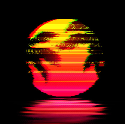Glitch Art Sunset with Palm Trees, Yellow Pink Sun over the Water. Synthwave Retrowave Art