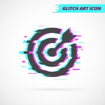 Glitch Art Target Vector Icon