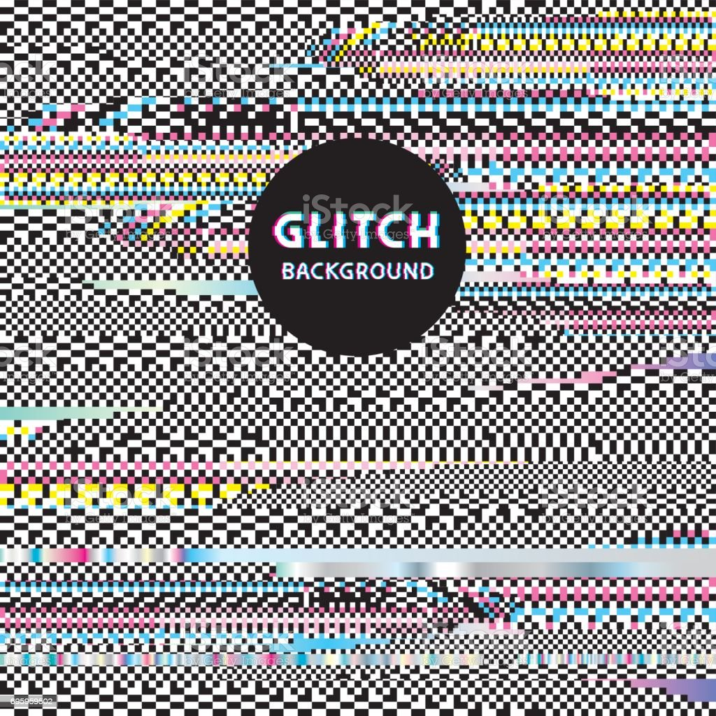Glitch background vector art illustration