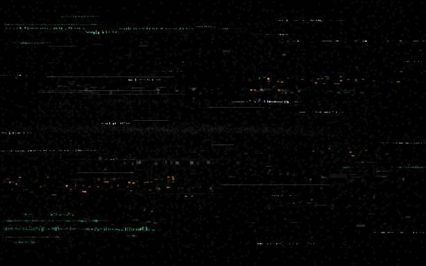 usterka tła. zniekształcenia wideo na czarnym tle. błąd sygnału cyfrowego. szum pikseli kolorów z zniekształconych linii. usterka telewizji i losowe kształty. brak sygnału. ilustracja wektorowa - efekty fotograficzne stock illustrations