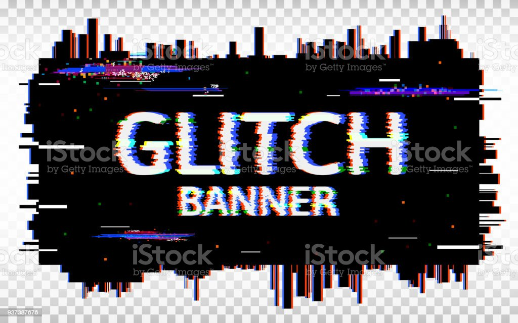 Glitch banner. Distorted glitch Font. Trendy design template with colorful geometric shapes and pixels. Abstract pixel noise effect. Vector illustration vector art illustration