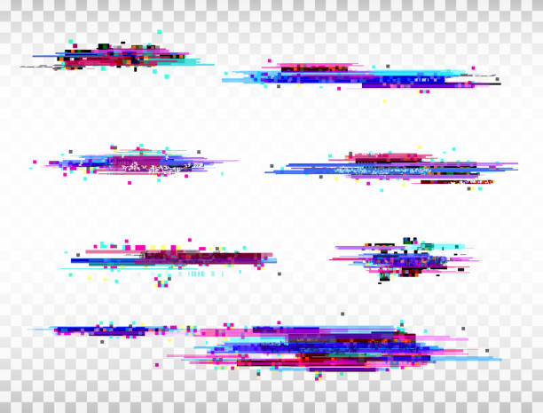 Glitch color elements set. Digital noise abstract design. Color pixel glitch. Modern bug effect. Noise texture. Vector illustration Glitch color elements set. Digital noise abstract design. Color pixel glitch. Modern bug effect. Noise texture. Vector illustration. dilemma stock illustrations