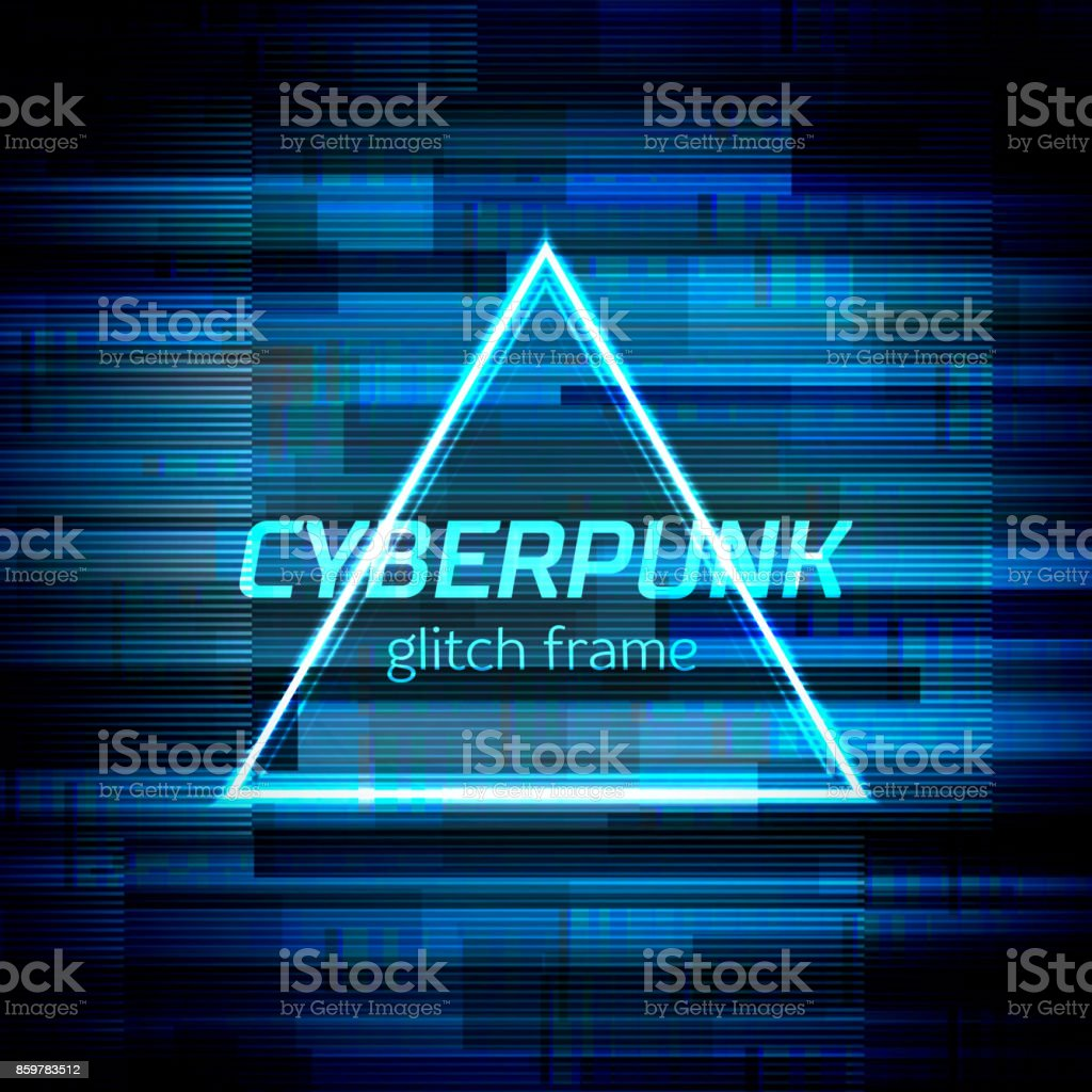 Glitch cyberpunk frame with technology error and neon shape vector art illustration
