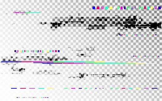 Glitch digital distortion on transparent backdrop. Color shapes template. Horizontal random elements. No signal VHS noise. Pixel distorted texture. Vector illustration