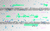 Glitch digital distortion on transparent background. Horizontal VHS noise and random elements. Old video template with color shapes. No signal template. Vector illustration.