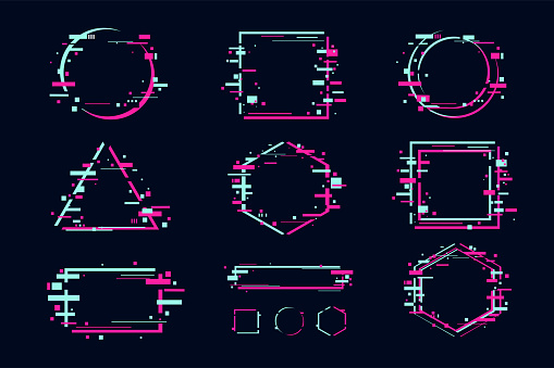 Glitch effect banners and frame set. Futuristic design with glitchy abstract shapes. Vector clipart elements.
