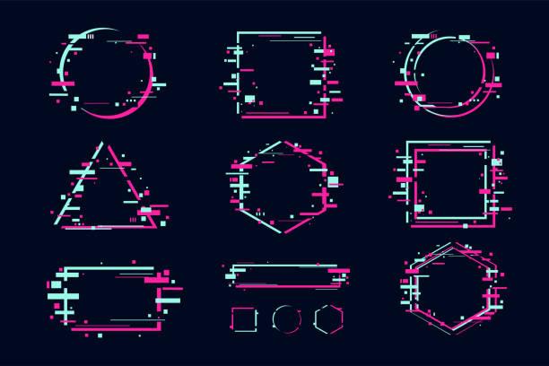 glitch efekt afiş ve çerçeve seti. glitchy soyut şekiller ile fütüristik tasarım. vektör clipart öğeleri. - gaming stock illustrations