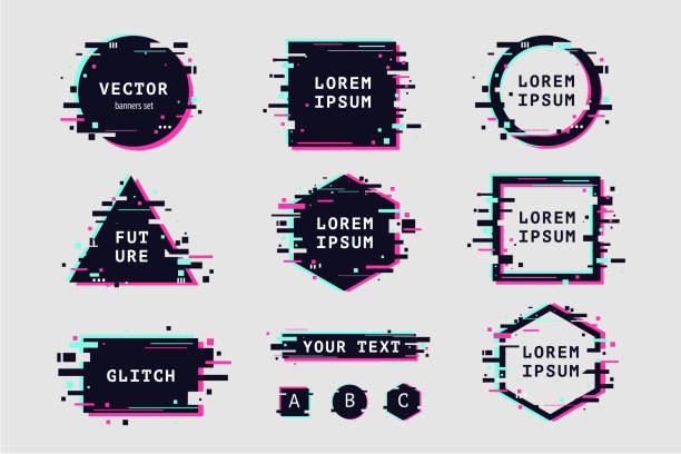 Glitch effect banners and frame set. Glitch effect banners and frame set. Futuristic design with glitchy abstract shapes. Vector clipart elements. youth culture stock illustrations