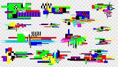 Glitch effect elements set. Pixel noise error design elements. Damaged screen. Vector template