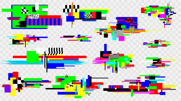 Glitch effect elements set. Pixel noise error design elements. Damaged screen. Vector template. Glitch effect elements set. Pixel noise error design elements. Damaged screen. Vector template inconvenience stock illustrations