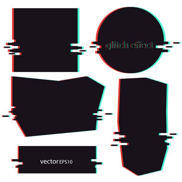 干擾效果-橫幅黑向量的背景向量藝術插圖