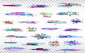 Glitch elements set. Color distortions on transparent background. Abstract digital noise. Error collection. Modern glitch templates. Pixel design. Vector illustration.