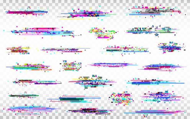 illustrazioni stock, clip art, cartoni animati e icone di tendenza di glitch elements set. color distortions on transparent background. abstract digital noise. error collection. modern glitch templates. pixel design. vector illustration - incertezza