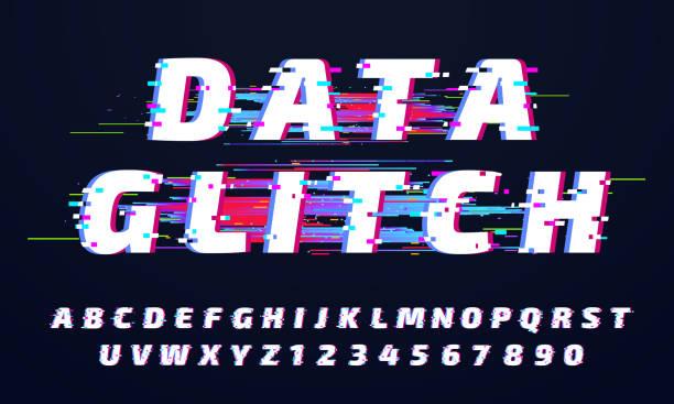 illustrazioni stock, clip art, cartoni animati e icone di tendenza di carattere glitch. alfabeto digitale glitched, lettere della schermata di gioco e vecchio set di vettori di lettering di visualizzazione rotto - incertezza