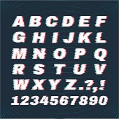 Glitch font with distortion effect. Deface Alphabet