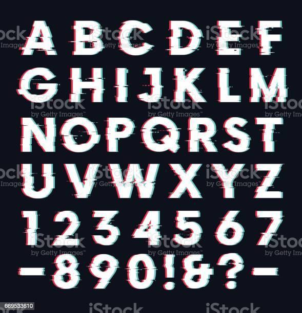 Glitch Lettertype Met Vervorming Effect Vector Letters En Cijfers Stockvectorkunst en meer beelden van Abstract