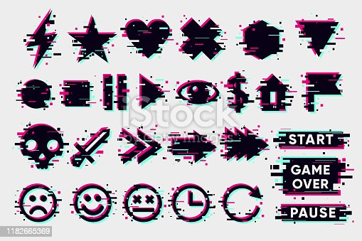 Glitch icons set. Interface navigation elements with glitchy effect. Vector signs collection on white background. Game design elements.