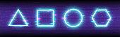Glitch neon shapes on retro futuristic backdrop. Cyberpunk geometric concept. Triangle, square, circle and hexagon with color distortions. Futuristic banner. Vector illustration.