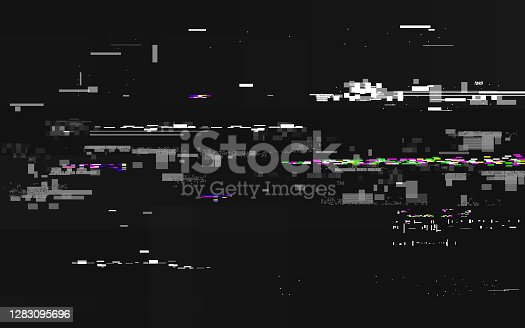 istock Glitch no signal. Abstract digital distortion. VHS noise backdrop with horizontal lines. Video error and color pixels. Glitch TV screen with overlay effect. Vector illustration 1283095696