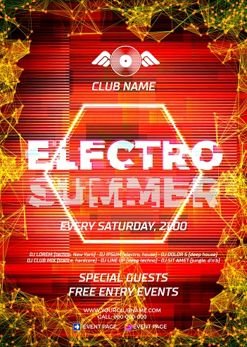 Glitch party poster with red background and hexagon for techno rave club nights. Advertising leaflet or flyer with modern electronic music dance party