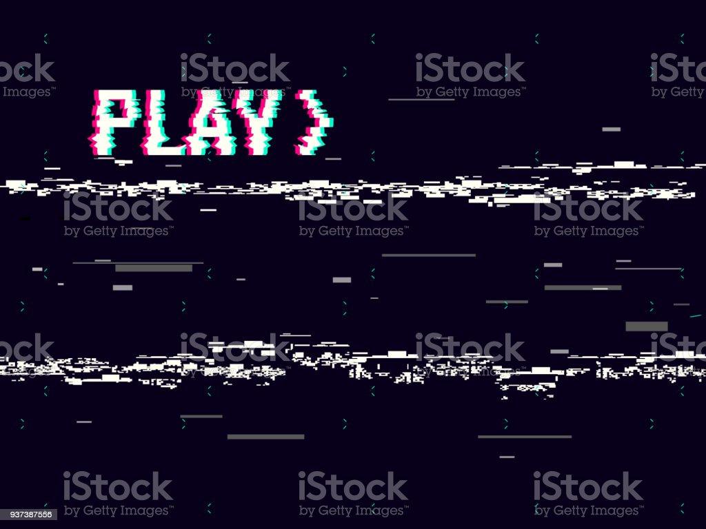 VHS-Glitch. Effekt-Hintergrund zu spielen. Retro-Wiedergabe Konzept. 8-Bit-Pixel-Inschrift. Glitched Linien Lärm. Kein Signal. Vektor-illustration Lizenzfreies vhsglitch effekthintergrund zu spielen retrowiedergabe konzept 8bitpixelinschrift glitched linien lärm kein signal vektorillustration stock vektor art und mehr bilder von 80-89 jahre