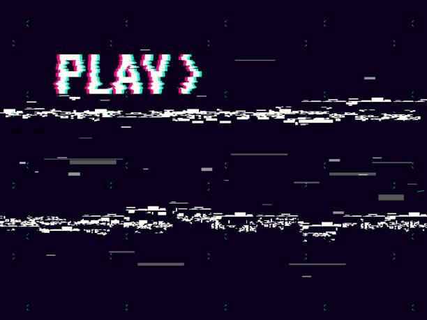 stockillustraties, clipart, cartoons en iconen met vhs glitch. spelen effect achtergrond. retro afspelen concept. 8 bit pixel inscriptie. glitched lijnen lawaai. geen signaal. vectorillustratie - verlegenheid
