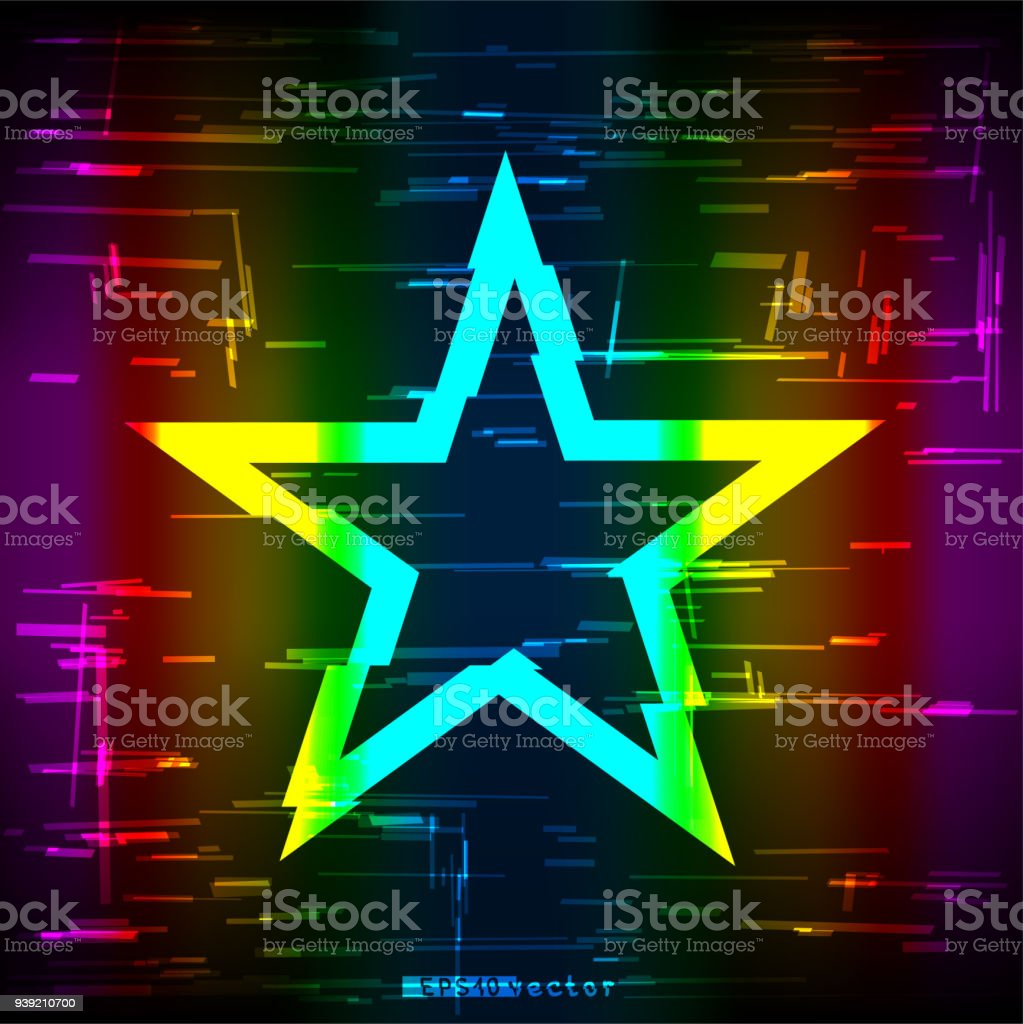 glitch rainbow star shape template stock vector art more images of