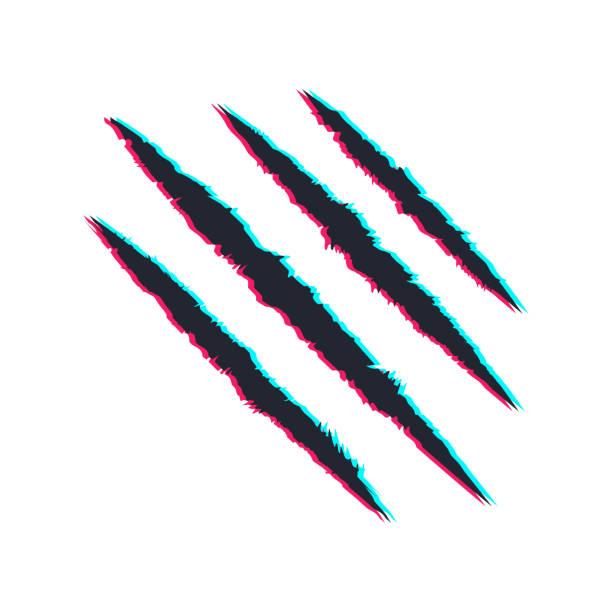 illustrazioni stock, clip art, cartoni animati e icone di tendenza di glitch scratch claws of animal. tiger, bear claws. design element. vector illustration - thriller