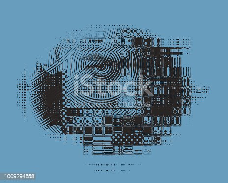 Glitch technique Engraving illustration of an Angry Woman's Face