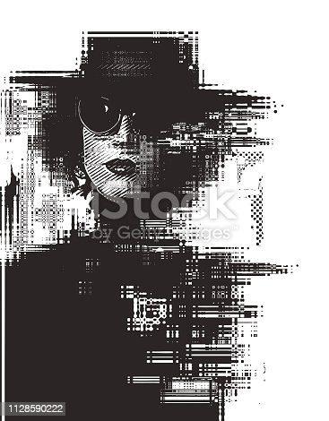 Engraving silhouette Glitch technique portrait of a young woman with cool attitude