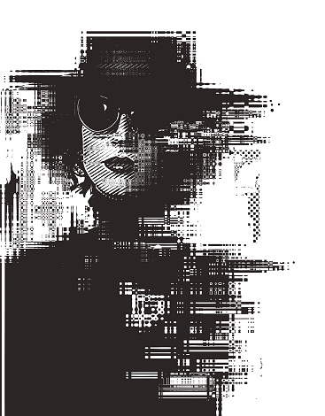 Glitch technique portrait of a young woman with cool attitude
