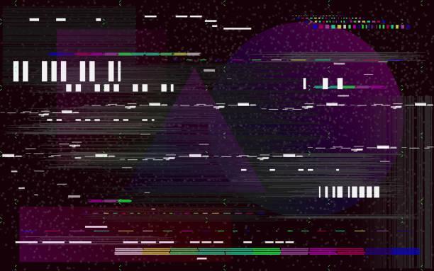 illustrazioni stock, clip art, cartoni animati e icone di tendenza di glitch television on black background. retro vhs backdrop. glitched lines noise and color shapes. no signal. vector illustration - incertezza