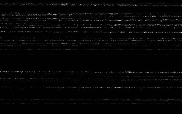 illustrazioni stock, clip art, cartoni animati e icone di tendenza di glitch vhs template. old video effect on black backdrop. horizontal random white lines. retro tape texture with distorted elements. analog videotape. vector illustration - problemi