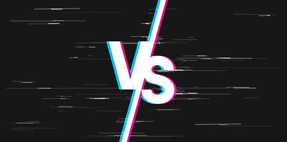 glitch white versus VS letters