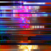 Glitched abstract vector background made of colorful pixel mosaic. Digital