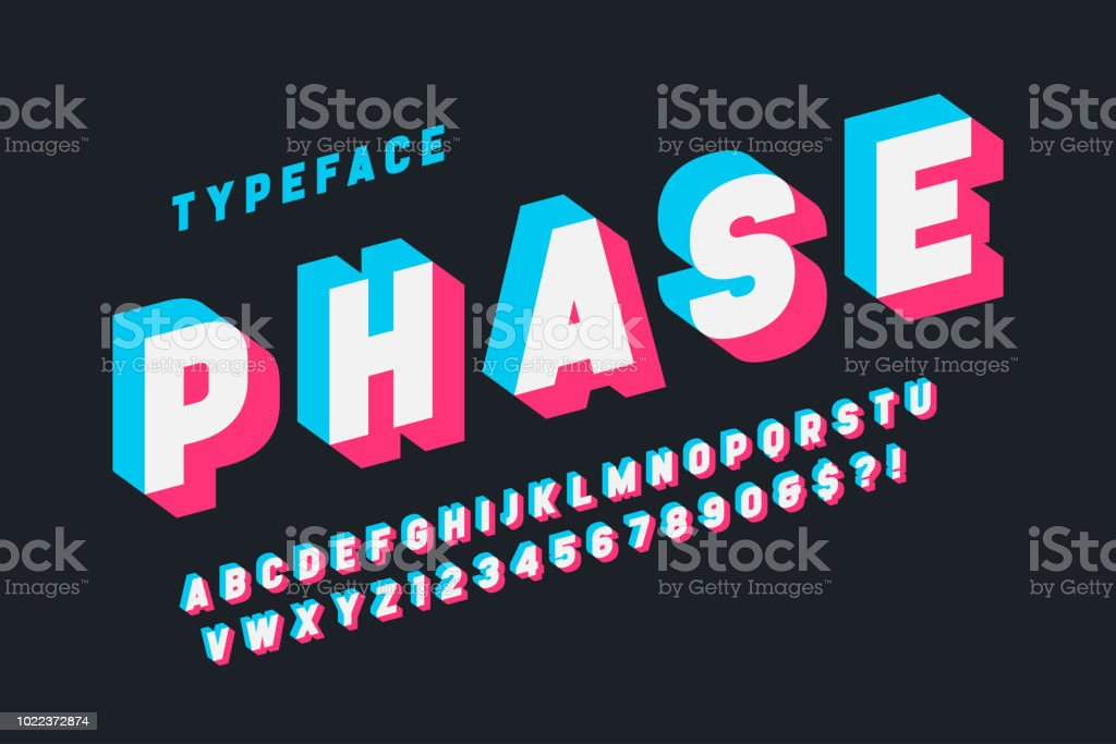Glitched display font design, alphabet, typeface, letters vector art illustration