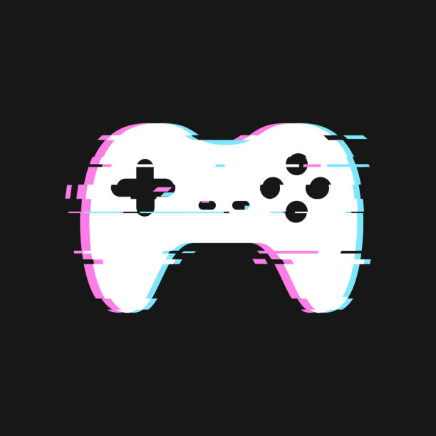 Glitched icon of gamepad vector illustration. Isolated joystick with noise effects on dark background. Glitched icon of gamepad vector illustration Isolated joystick with noise effects on dark background gamepad stock illustrations