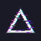 Glitched triangle frame. Glitch effect, distorted triangular shape